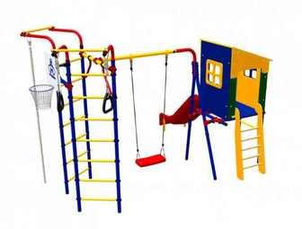 Детский спортивный комплекс Карусель 3.3.14.02 дачный с домиком.