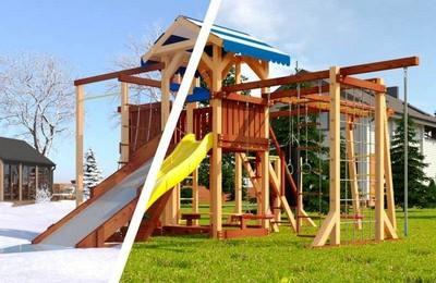 Савушка 4 сезона. Семейная деревянная площадка для улицы.