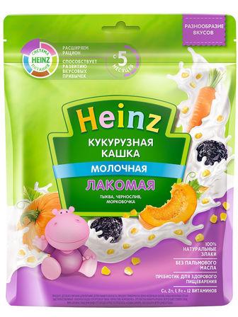 Каша молочная Heinz лакомая кукурузная тыква, чернослив, морковочка, с 5 мес., 170гр