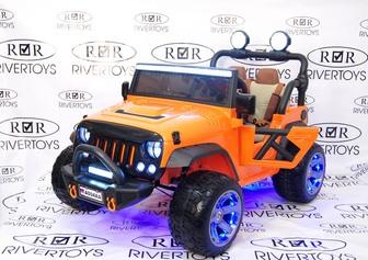Детский двухместный электромобиль-джип Jeep A004AA на резиновых колесах