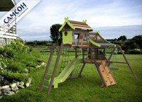 """Детская деревянная игровая площадка Самсон Хижина """"Аквитания"""" с рукоходом и мансардой."""