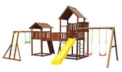Детский городок Jungle Palace + bridge Link + cottage(без горки) + swing + Rock + Рукоход с гимнастическими кольцами