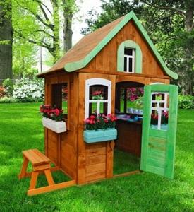 Детский домик Можга Цветочный c кухней и цветочницами (Р920-2)