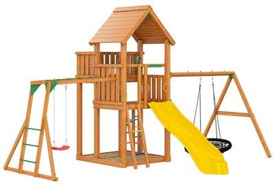 Jungle Palace + Swing (Гнездо)+рукоход+сидушка. Деревянный игровой комплекс.