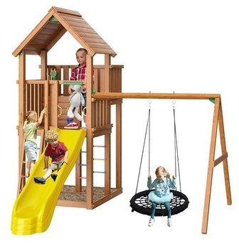 Jungle Palace + Swing (Гнездо). Детская деревянная игровая площадка.