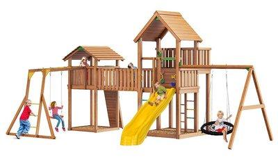 Jungle Palace + Jungle Cottage (без горки)+жесткий мост+Rock+Рукоход+сидушка+Swing (гнездо).