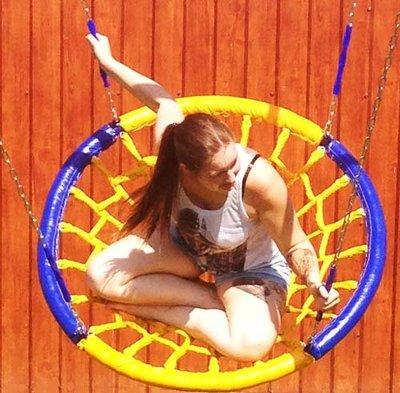 """Качели-гнездо (диаметр 1,0 метра), подвес - на цепях (четыре луча) для ДСК """"Веселый Непоседа"""""""