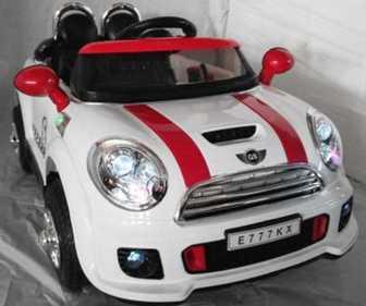 Детский электромобиль Mini Сooper E777KX 12V с МОНИТОРОМ на резиновых надувных колесах.