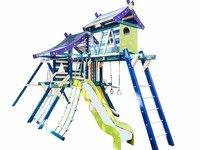 """Детская деревянная игровая площадка Хижина """"Санторини"""" с рукоходом и мансардой."""
