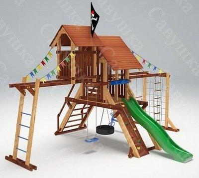 Савушка Lux - 10. Деревянный комплекс с игровым чердаком.