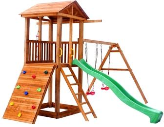 Детская площадка Можга Спортивный городок 5 с качелями, крыша дерево.
