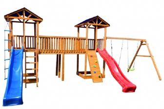Детская площадка Можга Спортивный  городок 6 (Крыша Тент) с качелями и узким скалодромом