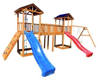 Детская площадка Можга Спортивный  городок 6 (Крыша Тент) с качелями и широким скалодромом