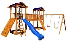 Детская площадка Можга Спортивный  городок 7 (Крыша Тент) с качелями и широким скалодромом