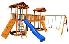 Детская площадка Можга Спортивный  городок 7 с качелями и широким скалодромом
