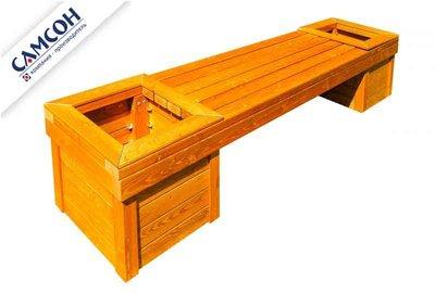 Деревянная скамейка с вазонами Самсон.
