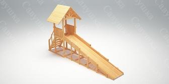 """Савушка """"Зима wood"""" - 5. Зимняя деревянная игровая горка без окраски."""