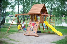 """Игровой уличный комплекс New Sunrise """"Зарница"""" с деревянной крышей"""