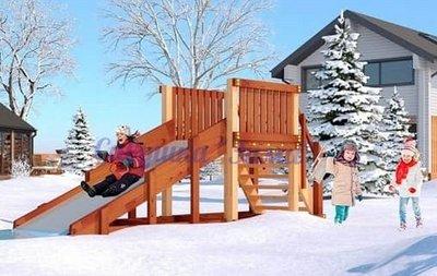 """Савушка """"Зима"""" - 1. Зимняя деревянная игровая горка."""